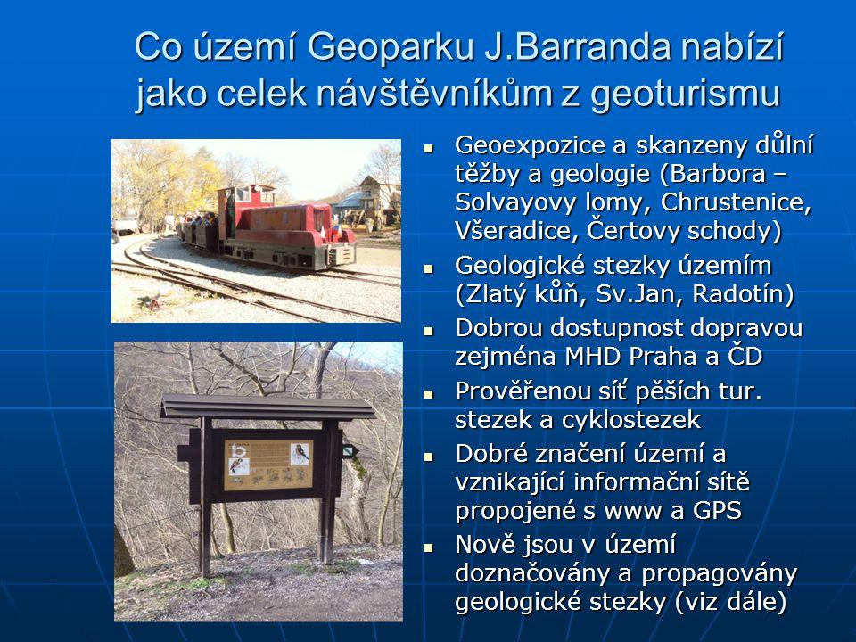 Co území Geoparku J.Barranda nabízí jako celek návštěvníkům z geoturismu Geoexpozice a skanzeny důlní těžby a geologie (Barbora – Solvayovy lomy, Chru