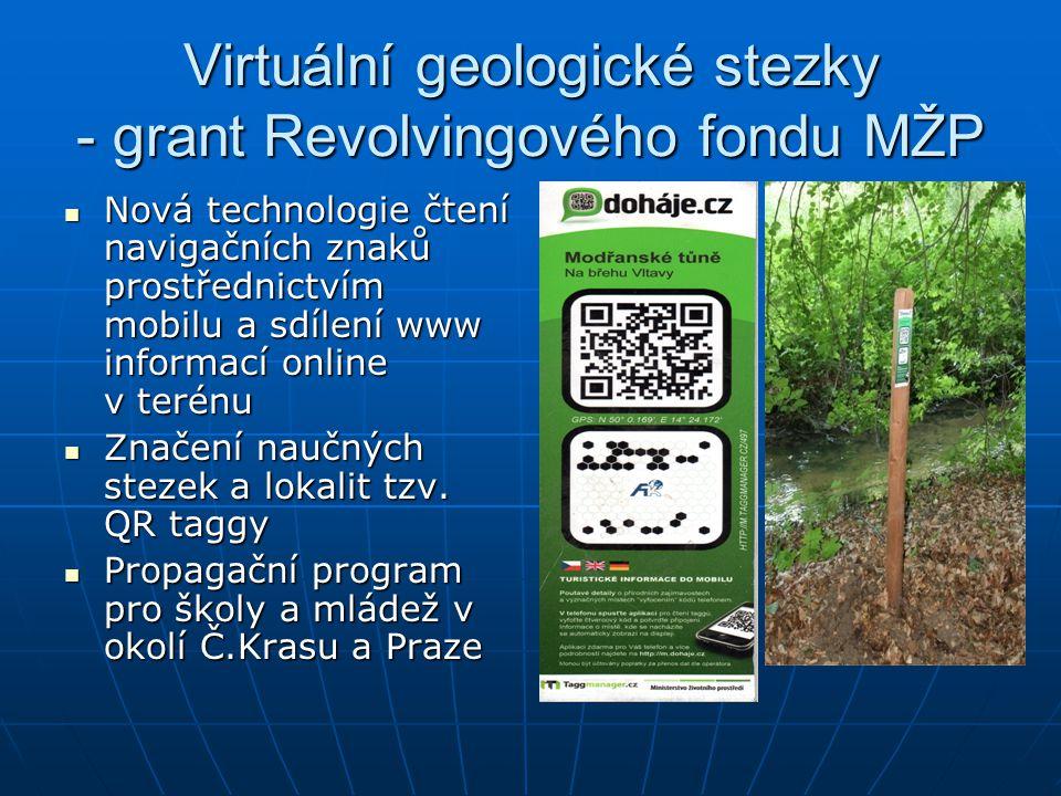 Virtuální geologické stezky - grant Revolvingového fondu MŽP Nová technologie čtení navigačních znaků prostřednictvím mobilu a sdílení www informací o