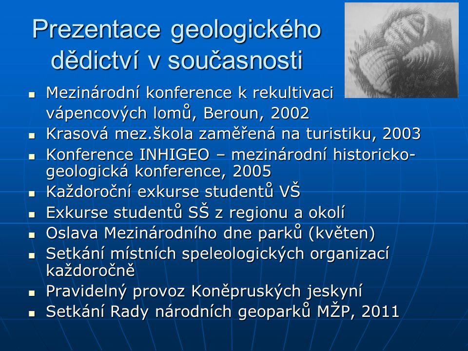 Prezentace geologického dědictví v současnosti Mezinárodní konference k rekultivaci Mezinárodní konference k rekultivaci vápencových lomů, Beroun, 200