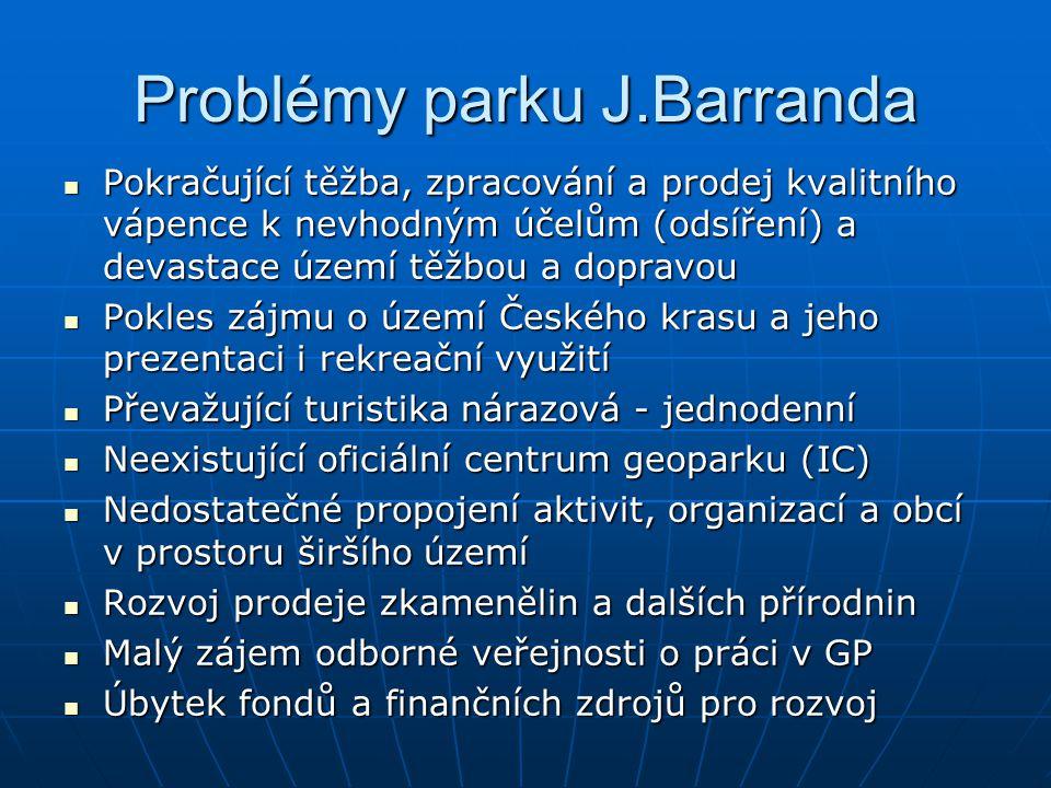 Problémy parku J.Barranda Pokračující těžba, zpracování a prodej kvalitního vápence k nevhodným účelům (odsíření) a devastace území těžbou a dopravou