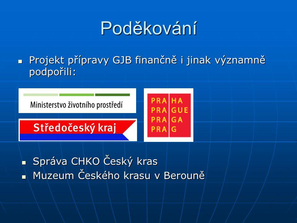 Poděkování Projekt přípravy GJB finančně i jinak významně podpořili: Projekt přípravy GJB finančně i jinak významně podpořili: Správa CHKO Český kras