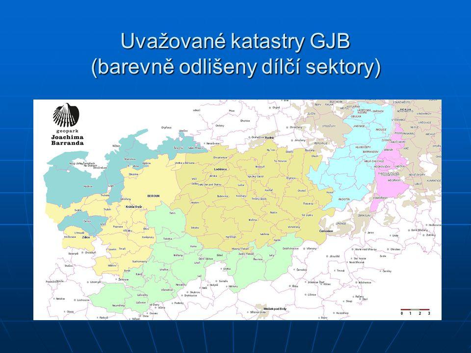 Uvažované katastry GJB (barevně odlišeny dílčí sektory)