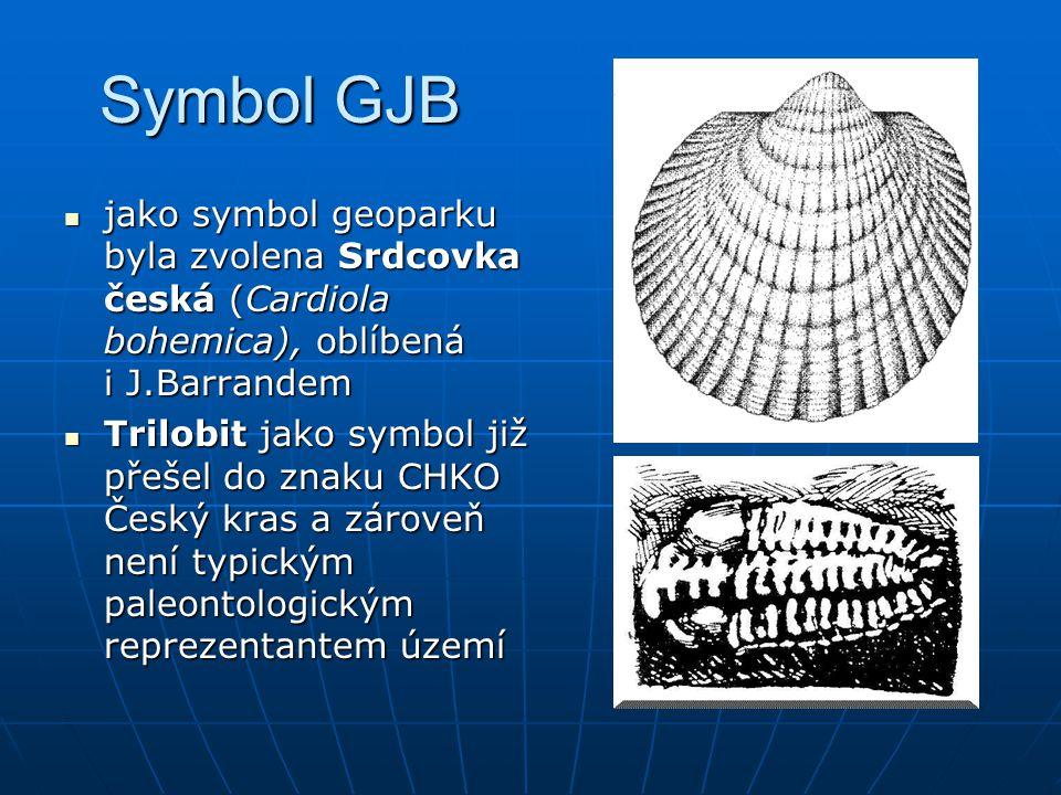 Symbol GJB jako symbol geoparku byla zvolena Srdcovka česká (Cardiola bohemica), oblíbená i J.Barrandem jako symbol geoparku byla zvolena Srdcovka čes