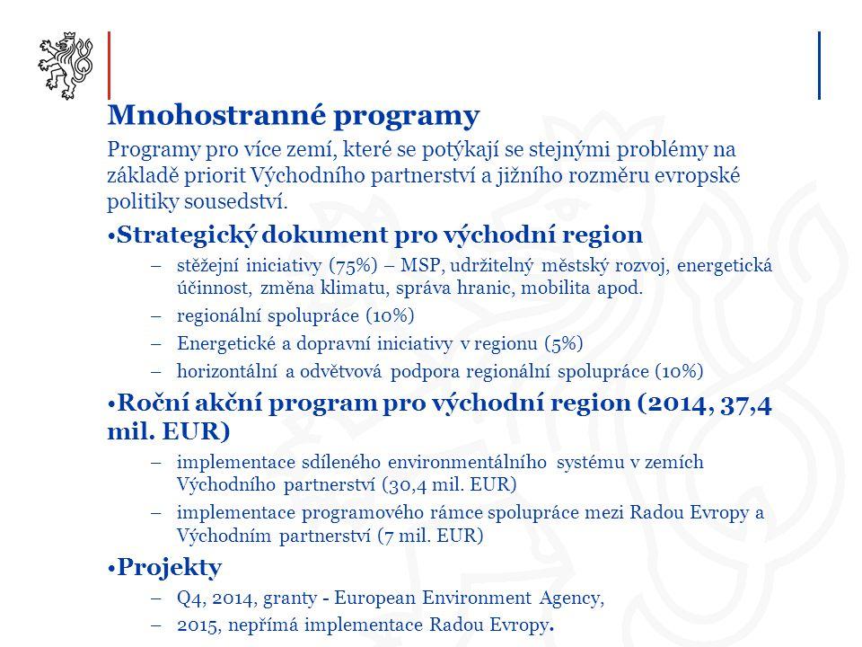 Mnohostranné programy Programy pro více zemí, které se potýkají se stejnými problémy na základě priorit Východního partnerství a jižního rozměru evrop