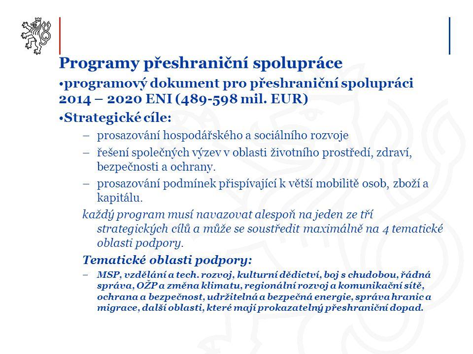 Programy přeshraniční spolupráce programový dokument pro přeshraniční spolupráci 2014 – 2020 ENI (489-598 mil. EUR) Strategické cíle: –prosazování hos