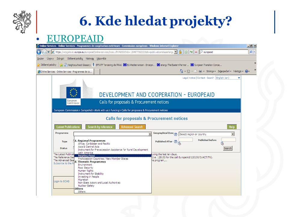 6. Kde hledat projekty? EUROPEAID