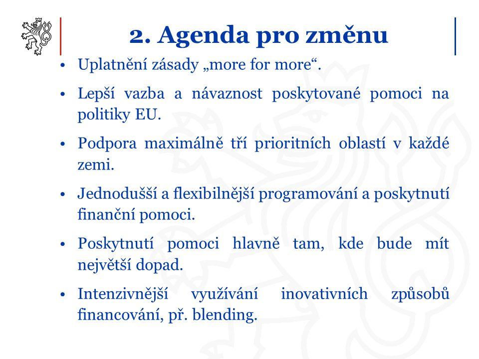 """2. Agenda pro změnu Uplatnění zásady """"more for more"""". Lepší vazba a návaznost poskytované pomoci na politiky EU. Podpora maximálně tří prioritních obl"""