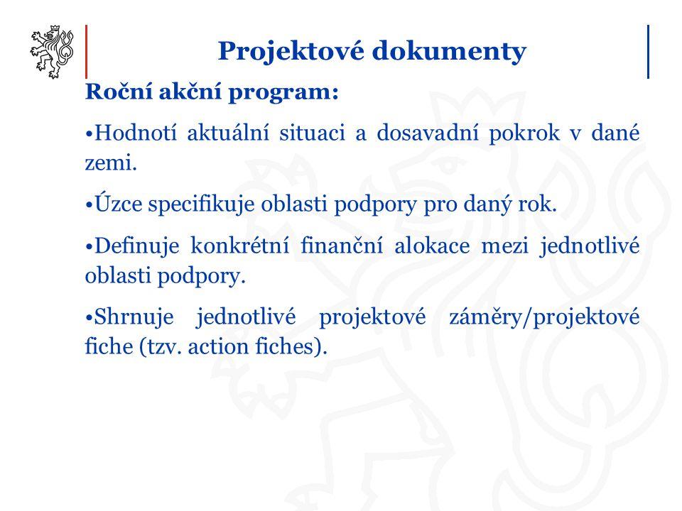 Projektové dokumenty Roční akční program: Hodnotí aktuální situaci a dosavadní pokrok v dané zemi. Úzce specifikuje oblasti podpory pro daný rok. Defi