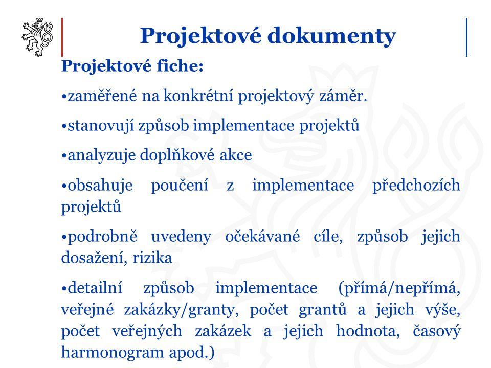 Projektové dokumenty Projektové fiche: zaměřené na konkrétní projektový záměr. stanovují způsob implementace projektů analyzuje doplňkové akce obsahuj