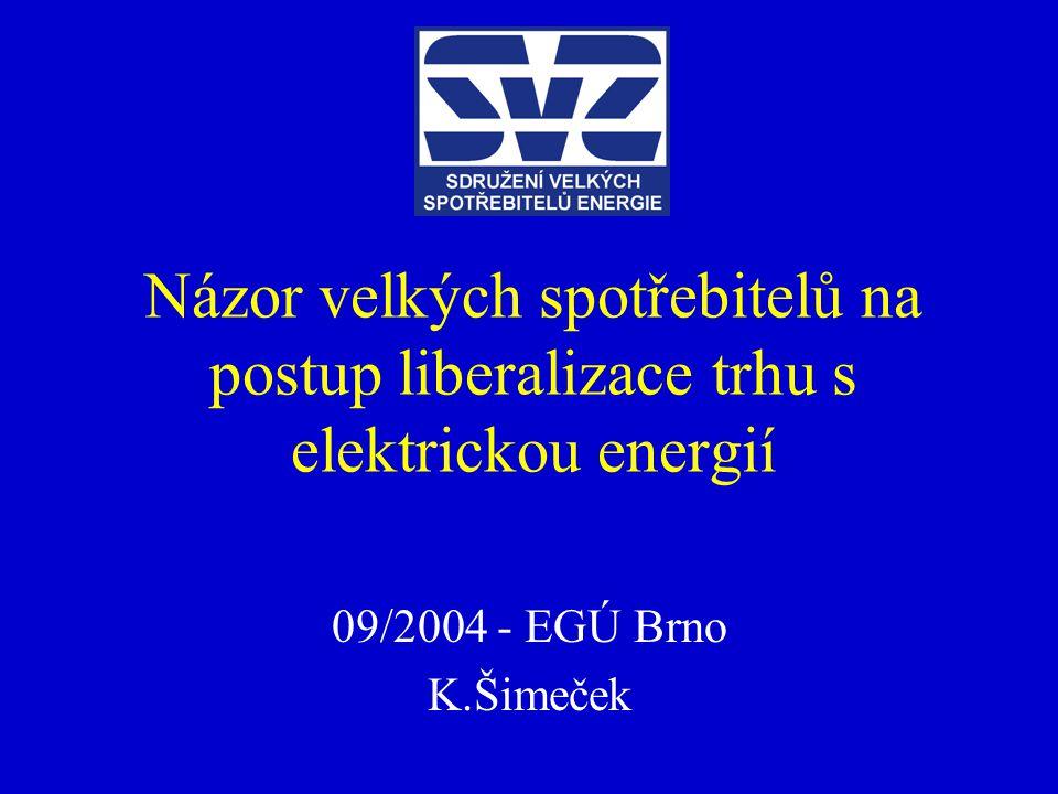 Názor velkých spotřebitelů na postup liberalizace trhu s elektrickou energií 09/2004 - EGÚ Brno K.Šimeček