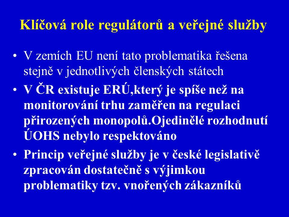 Klíčová role regulátorů a veřejné služby V zemích EU není tato problematika řešena stejně v jednotlivých členských státech V ČR existuje ERÚ,který je