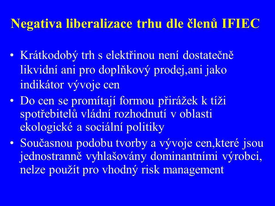 Negativa liberalizace trhu dle členů IFIEC Krátkodobý trh s elektřinou není dostatečně likvidní ani pro doplňkový prodej,ani jako indikátor vývoje cen