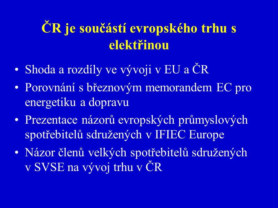 ČR je součástí evropského trhu s elektřinou Shoda a rozdíly ve vývoji v EU a ČR Porovnání s březnovým memorandem EC pro energetiku a dopravu Prezentace názorů evropských průmyslových spotřebitelů sdružených v IFIEC Europe Názor členů velkých spotřebitelů sdružených v SVSE na vývoj trhu v ČR