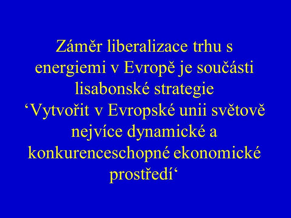 Záměr liberalizace trhu s energiemi v Evropě je součásti lisabonské strategie 'Vytvořit v Evropské unii světově nejvíce dynamické a konkurenceschopné