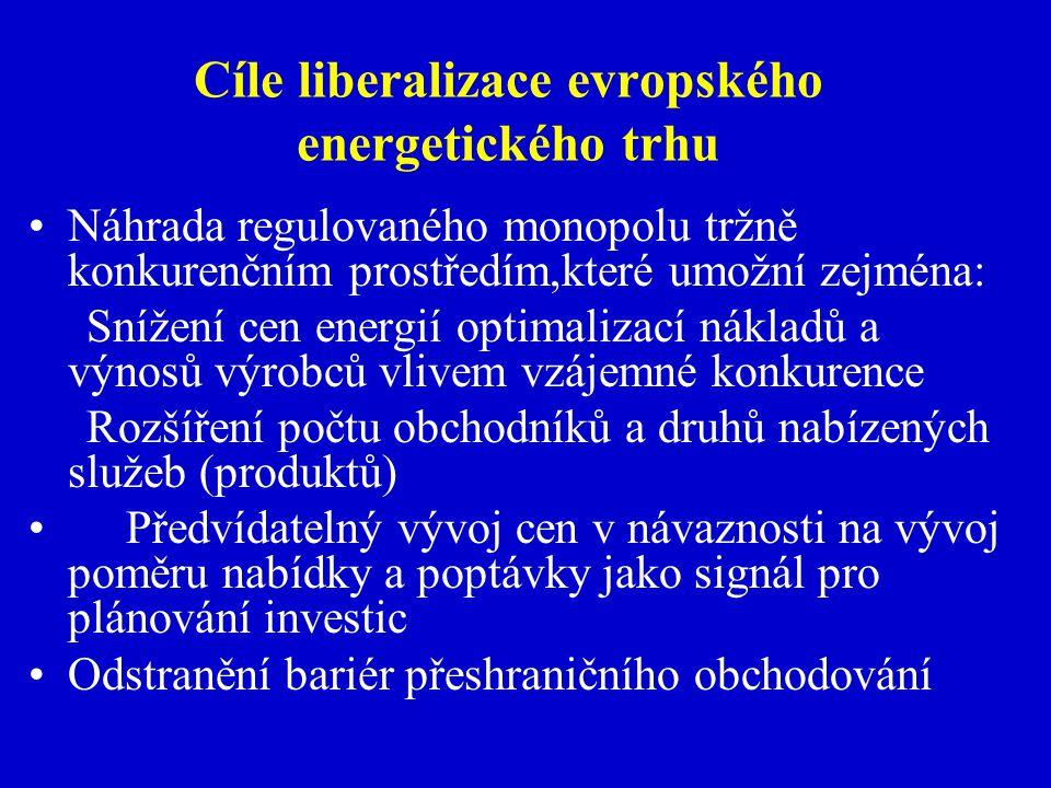 Cíle liberalizace evropského energetického trhu Náhrada regulovaného monopolu tržně konkurenčním prostředím,které umožní zejména: Snížení cen energií