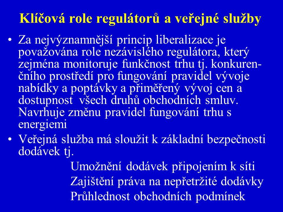 Klíčová role regulátorů a veřejné služby V zemích EU není tato problematika řešena stejně v jednotlivých členských státech V ČR existuje ERÚ,který je spíše než na monitorování trhu zaměřen na regulaci přirozených monopolů.Ojedinělé rozhodnutí ÚOHS nebylo respektováno Princip veřejné služby je v české legislativě zpracován dostatečně s výjimkou problematiky tzv.