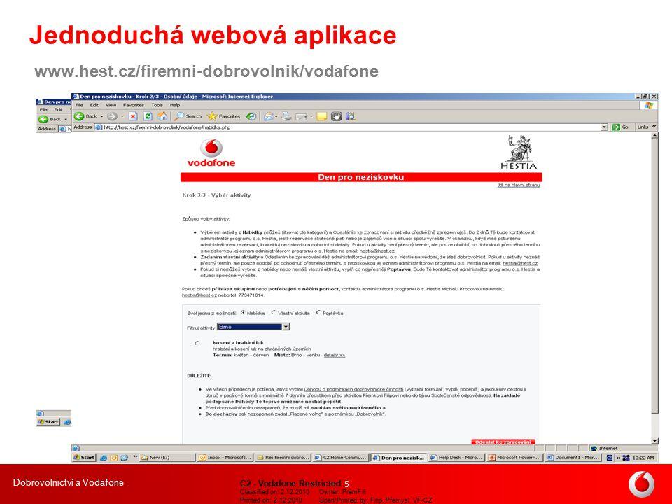 Dobrovolnictví a Vodafone C2 - Vodafone Restricted Classified on: 2.12.2010Owner: PremFili Printed on: 2.12.2010Open/Printed by: Filip, Přemysl, VF-CZ 6 … zaměstnanci v akci