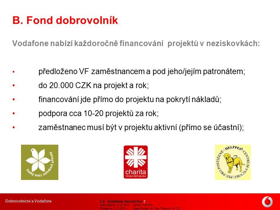 Dobrovolnictví a Vodafone C2 - Vodafone Restricted Classified on: 2.12.2010Owner: PremFili Printed on: 2.12.2010Open/Printed by: Filip, Přemysl, VF-CZ 8 C.