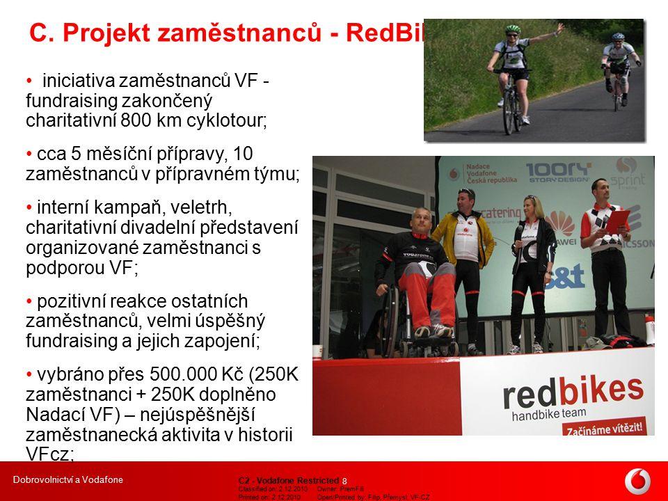 Dobrovolnictví a Vodafone C2 - Vodafone Restricted Classified on: 2.12.2010Owner: PremFili Printed on: 2.12.2010Open/Printed by: Filip, Přemysl, VF-CZ 9 Charitativní cyklotour