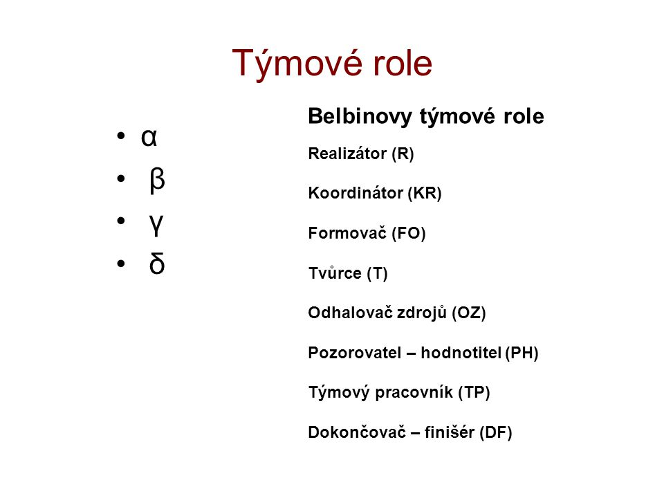 Týmové role α β γ δ Belbinovy týmové role Realizátor (R) Koordinátor (KR) Formovač (FO) Tvůrce (T) Odhalovač zdrojů (OZ) Pozorovatel – hodnotitel (PH)
