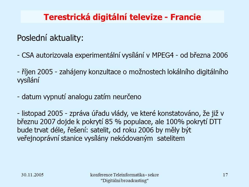30.11.2005konference Teleinformatika - sekce Digitální broadcasting 17 Terestrická digitální televize - Francie Poslední aktuality: - CSA autorizovala experimentální vysílání v MPEG4 - od března 2006 - říjen 2005 - zahájeny konzultace o možnostech lokálního digitálního vysílání - datum vypnutí analogu zatím neurčeno - listopad 2005 - zpráva úřadu vlády, ve které konstatováno, že již v březnu 2007 dojde k pokrytí 85 % populace, ale 100% pokrytí DTT bude trvat déle, řešení: satelit, od roku 2006 by měly být veřejnoprávní stanice vysílány nekódovaným satelitem
