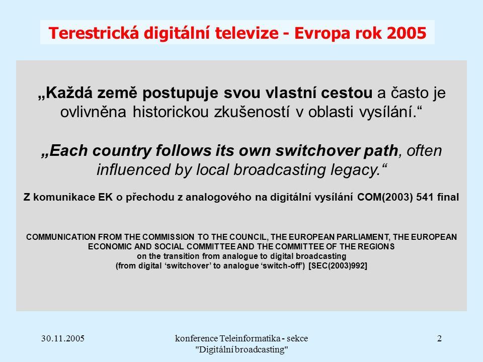 """30.11.2005konference Teleinformatika - sekce Digitální broadcasting 2 """"Každá země postupuje svou vlastní cestou a často je ovlivněna historickou zkušeností v oblasti vysílání. """"Each country follows its own switchover path, often influenced by local broadcasting legacy. Z komunikace EK o přechodu z analogového na digitální vysílání COM(2003) 541 final COMMUNICATION FROM THE COMMISSION TO THE COUNCIL, THE EUROPEAN PARLIAMENT, THE EUROPEAN ECONOMIC AND SOCIAL COMMITTEE AND THE COMMITTEE OF THE REGIONS on the transition from analogue to digital broadcasting (from digital 'switchover' to analogue 'switch-off') [SEC(2003)992] Terestrická digitální televize - Evropa rok 2005"""