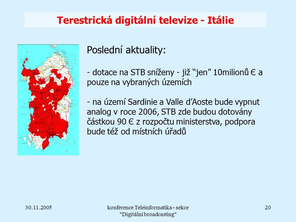 30.11.2005konference Teleinformatika - sekce Digitální broadcasting 20 Terestrická digitální televize - Itálie Poslední aktuality: - dotace na STB sníženy - již jen 10milionů Є a pouze na vybraných územích - na území Sardinie a Valle d'Aoste bude vypnut analog v roce 2006, STB zde budou dotovány částkou 90 Є z rozpočtu ministerstva, podpora bude též od místních úřadů