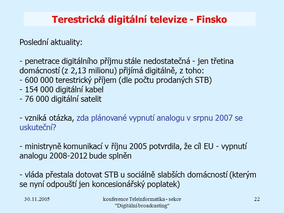 30.11.2005konference Teleinformatika - sekce Digitální broadcasting 22 Terestrická digitální televize - Finsko Poslední aktuality: - penetrace digitálního příjmu stále nedostatečná - jen třetina domácností (z 2,13 milionu) přijímá digitálně, z toho: - 600 000 terestrický příjem (dle počtu prodaných STB) - 154 000 digitální kabel - 76 000 digitální satelit - vzniká otázka, zda plánované vypnutí analogu v srpnu 2007 se uskuteční.