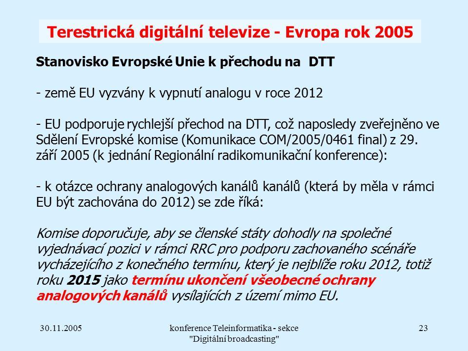 30.11.2005konference Teleinformatika - sekce Digitální broadcasting 23 Terestrická digitální televize - Evropa rok 2005 Stanovisko Evropské Unie k přechodu na DTT - země EU vyzvány k vypnutí analogu v roce 2012 - EU podporuje rychlejší přechod na DTT, což naposledy zveřejněno ve Sdělení Evropské komise (Komunikace COM/2005/0461 final) z 29.