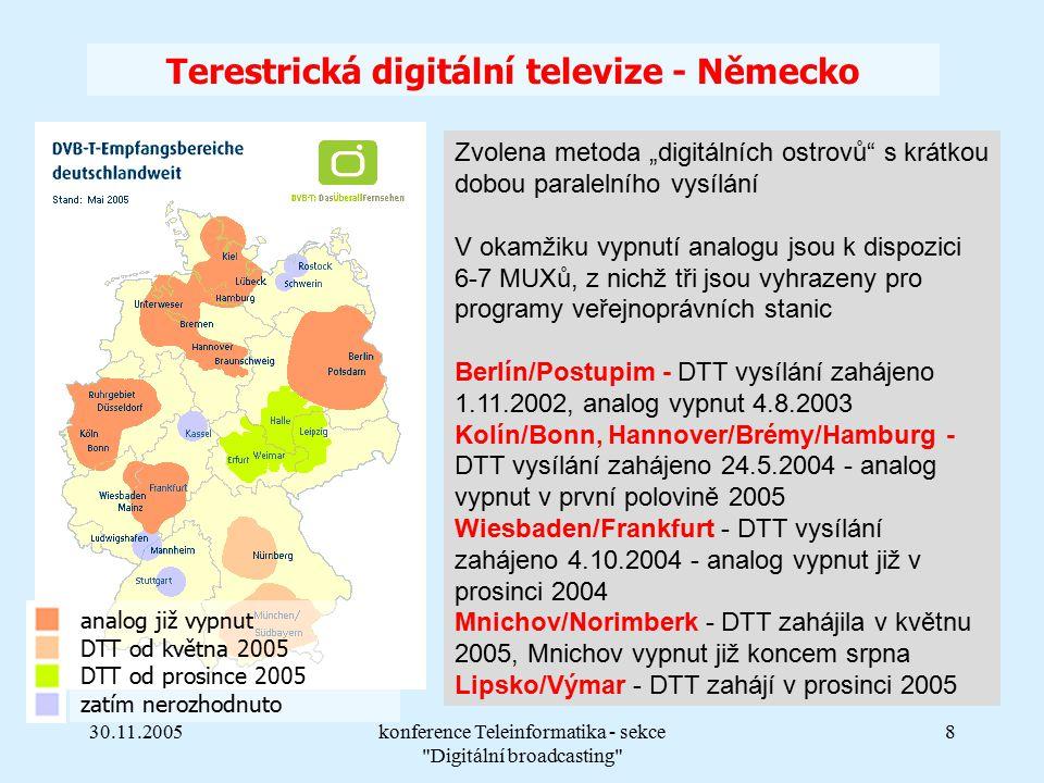 """30.11.2005konference Teleinformatika - sekce Digitální broadcasting 8 Terestrická digitální televize - Německo analog již vypnut DTT od května 2005 DTT od prosince 2005 zatím nerozhodnuto Zvolena metoda """"digitálních ostrovů s krátkou dobou paralelního vysílání V okamžiku vypnutí analogu jsou k dispozici 6-7 MUXů, z nichž tři jsou vyhrazeny pro programy veřejnoprávních stanic Berlín/Postupim - DTT vysílání zahájeno 1.11.2002, analog vypnut 4.8.2003 Kolín/Bonn, Hannover/Brémy/Hamburg - DTT vysílání zahájeno 24.5.2004 - analog vypnut v první polovině 2005 Wiesbaden/Frankfurt - DTT vysílání zahájeno 4.10.2004 - analog vypnut již v prosinci 2004 Mnichov/Norimberk - DTT zahájila v květnu 2005, Mnichov vypnut již koncem srpna Lipsko/Výmar - DTT zahájí v prosinci 2005"""