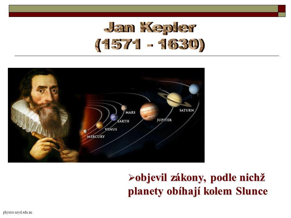  objevil zákony, podle nichž planety obíhají kolem Slunce physics.usyd.edu.au