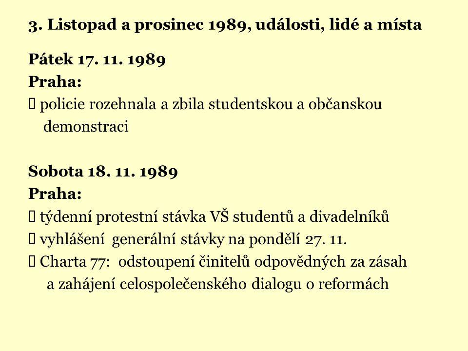 3. Listopad a prosinec 1989, události, lidé a místa Pátek 17. 11. 1989 Praha:  policie rozehnala a zbila studentskou a občanskou demonstraci Sobota 1