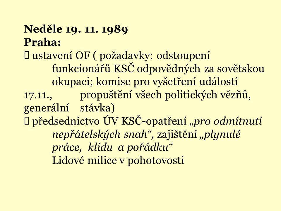 Neděle 19. 11. 1989 Praha:  ustavení OF ( požadavky: odstoupení funkcionářů KSČ odpovědných za sovětskou okupaci; komise pro vyšetření událostí 17.11