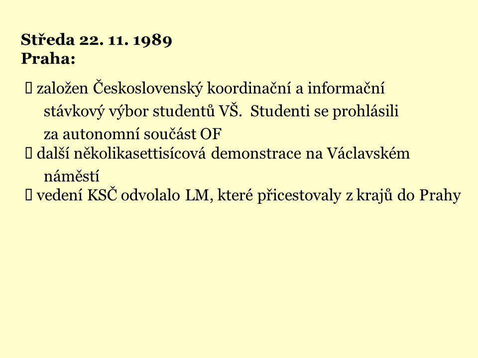 Středa 22. 11. 1989 Praha:  založen Československý koordinační a informační stávkový výbor studentů VŠ. Studenti se prohlásili za autonomní součást O