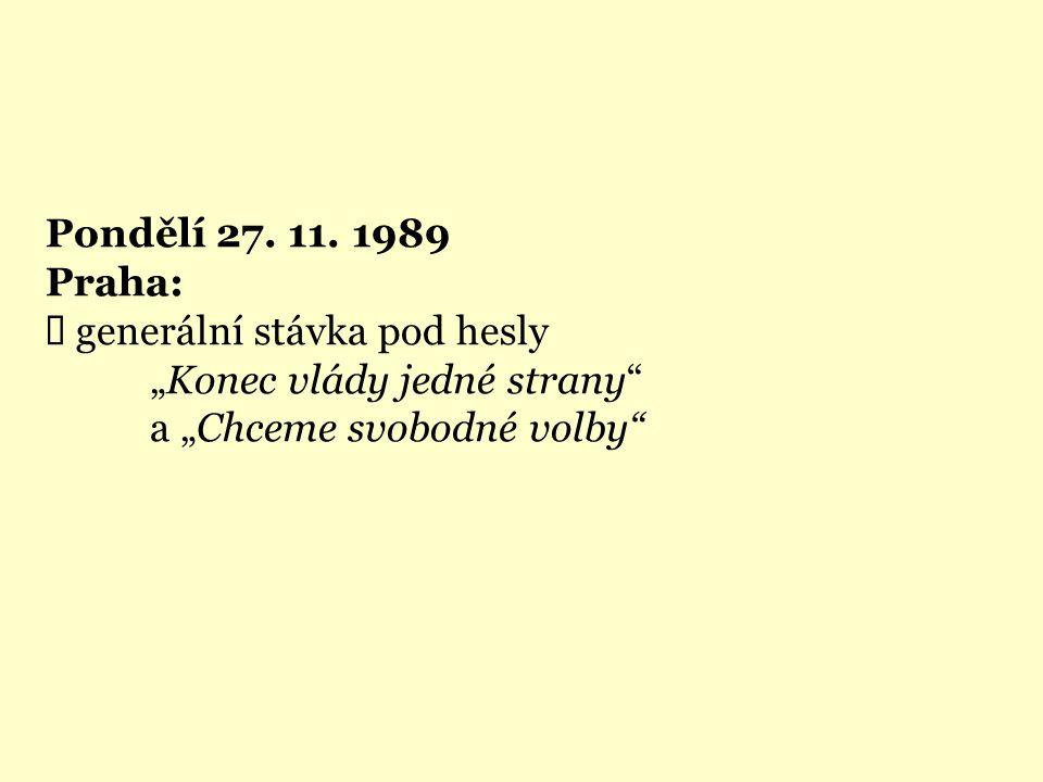 """Pondělí 27. 11. 1989 Praha:  generální stávka pod hesly """"Konec vlády jedné strany"""" a """"Chceme svobodné volby"""""""