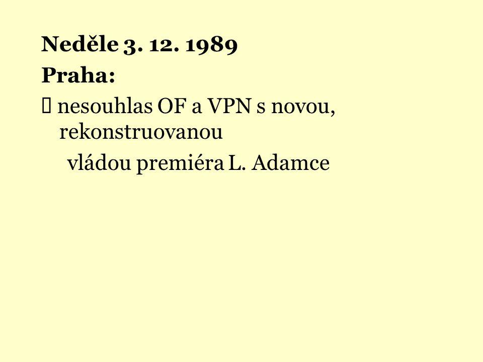 Neděle 3. 12. 1989 Praha:  nesouhlas OF a VPN s novou, rekonstruovanou vládou premiéra L. Adamce