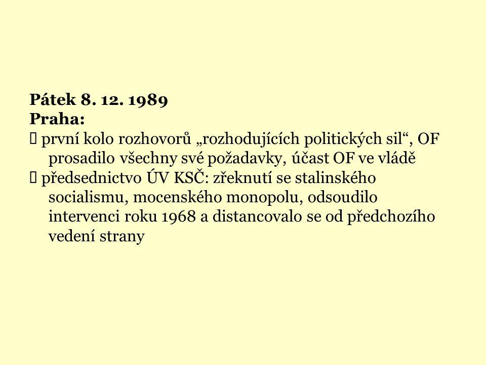 """Pátek 8. 12. 1989 Praha:  první kolo rozhovorů """"rozhodujících politických sil"""", OF prosadilo všechny své požadavky, účast OF ve vládě  předsednictvo"""