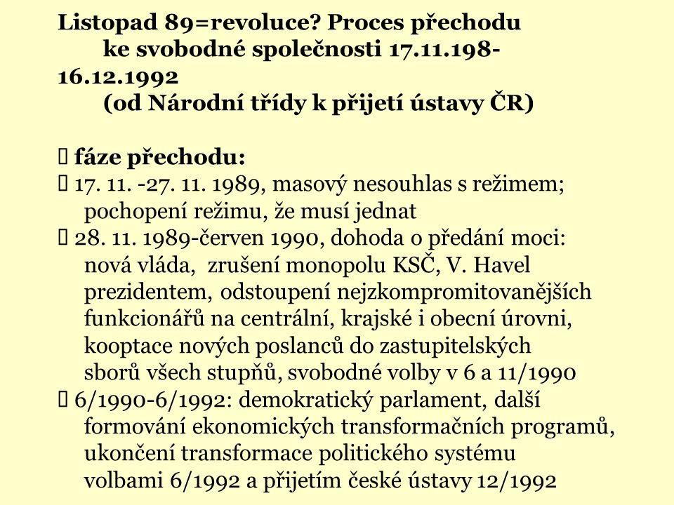Listopad 89=revoluce? Proces přechodu ke svobodné společnosti 17.11.198- 16.12.1992 (od Národní třídy k přijetí ústavy ČR)  fáze přechodu:  17. 11.
