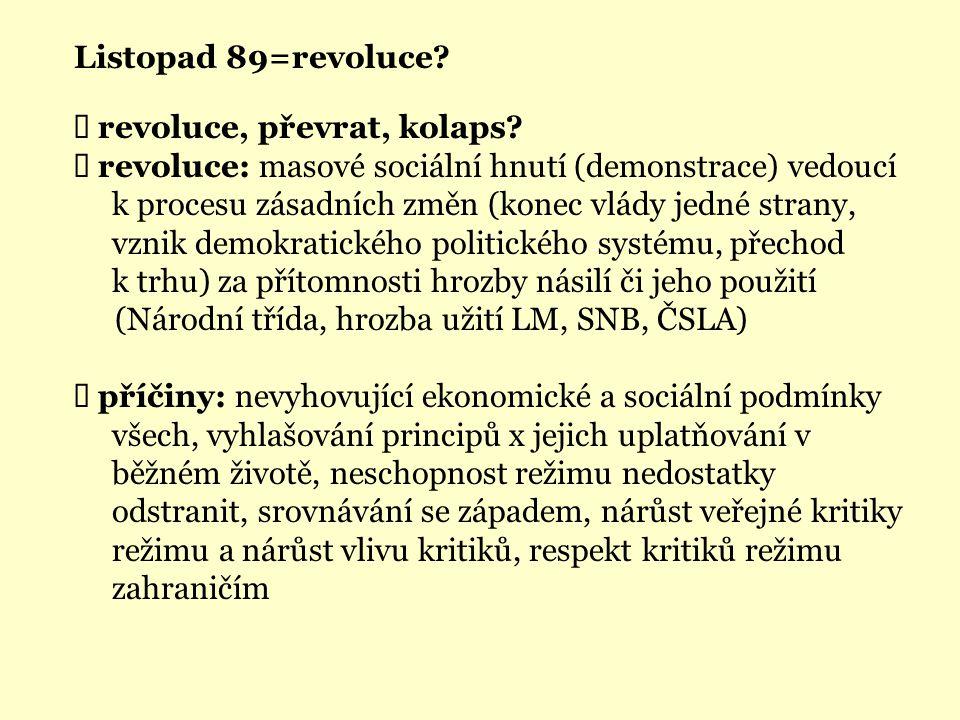Listopad 89=revoluce?  revoluce, převrat, kolaps?  revoluce: masové sociální hnutí (demonstrace) vedoucí k procesu zásadních změn (konec vlády jedné