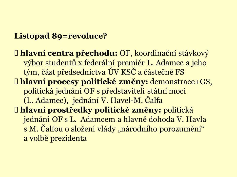 Listopad 89=revoluce?  hlavní centra přechodu: OF, koordinační stávkový výbor studentů x federální premiér L. Adamec a jeho tým, část předsednictva Ú