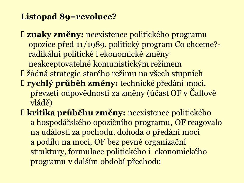 Listopad 89=revoluce?  znaky změny: neexistence politického programu opozice před 11/1989, politický program Co chceme?- radikální politické i ekonom