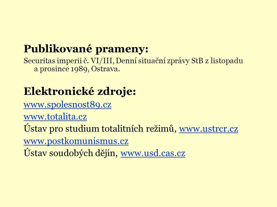 Publikované prameny: Securitas imperii č. VI/III, Denní situační zprávy StB z listopadu a prosince 1989, Ostrava. Elektronické zdroje: www.spolesnost8
