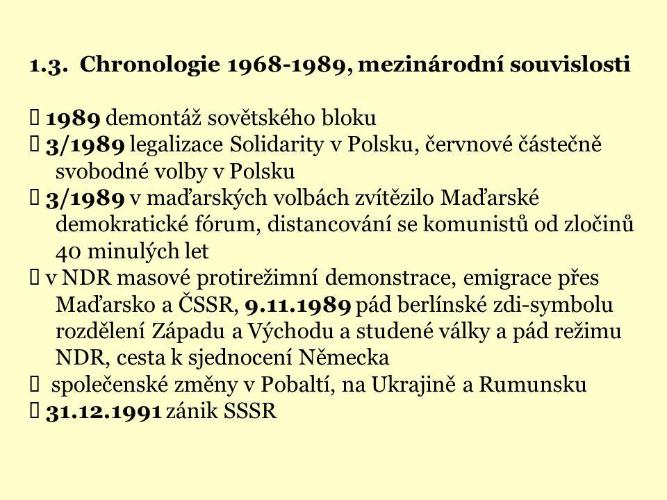 1.3. Chronologie 1968-1989, mezinárodní souvislosti  1989 demontáž sovětského bloku  3/1989 legalizace Solidarity v Polsku, červnové částečně svobod