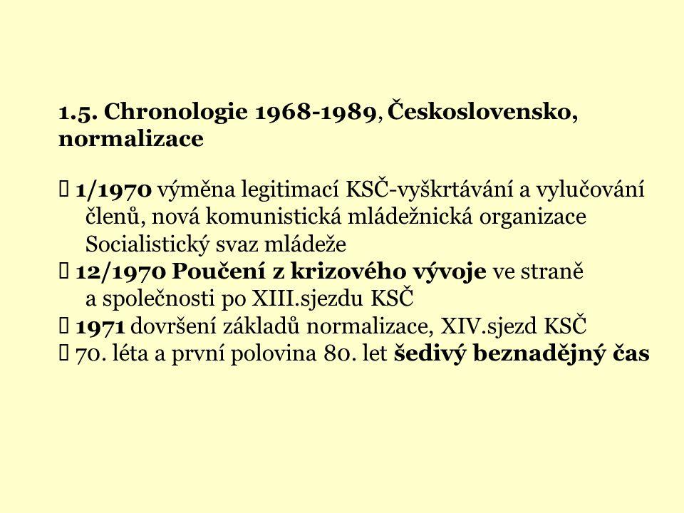 1.5. Chronologie 1968-1989, Československo, normalizace  1/1970 výměna legitimací KSČ-vyškrtávání a vylučování členů, nová komunistická mládežnická o