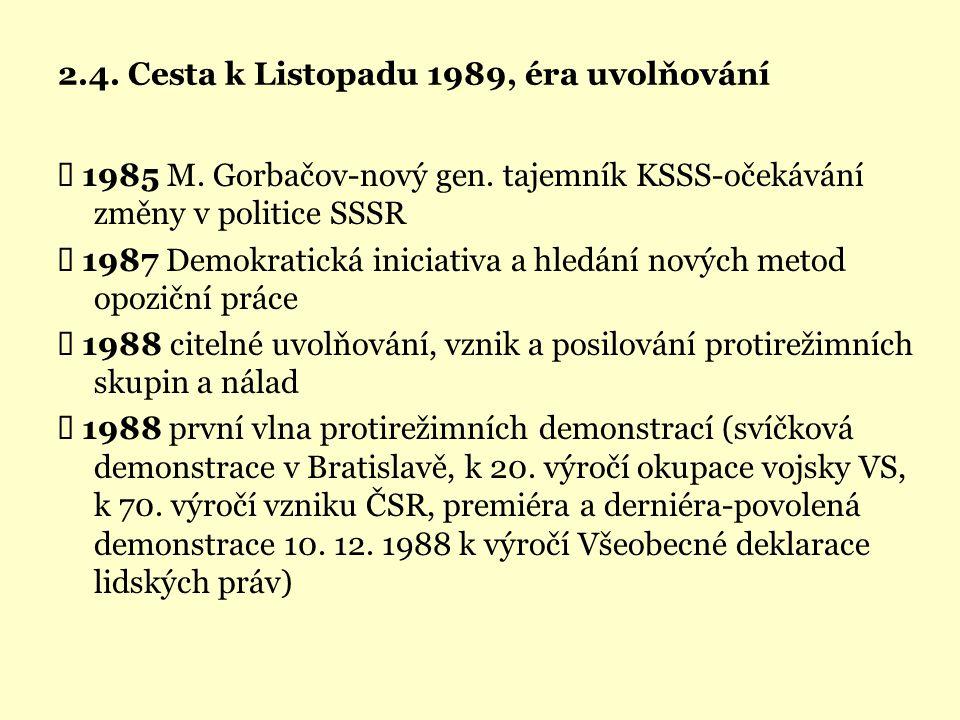 2.4. Cesta k Listopadu 1989, éra uvolňování  1985 M. Gorbačov-nový gen. tajemník KSSS-očekávání změny v politice SSSR  1987 Demokratická iniciativa