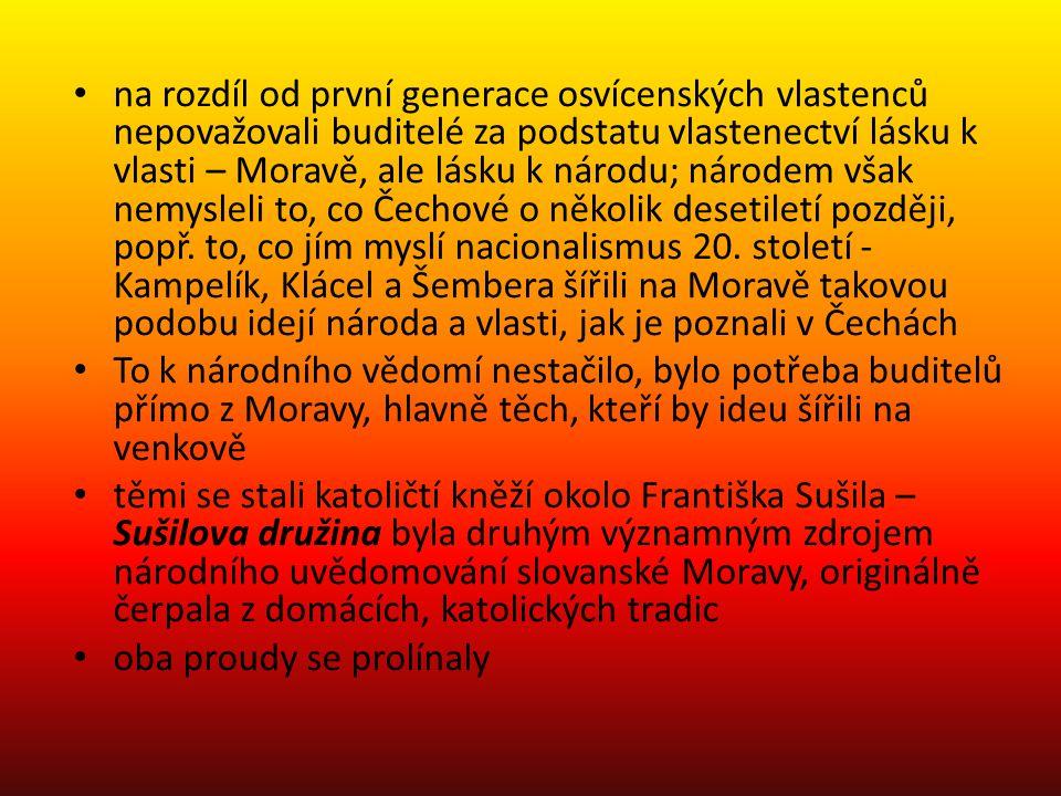 na rozdíl od první generace osvícenských vlastenců nepovažovali buditelé za podstatu vlastenectví lásku k vlasti – Moravě, ale lásku k národu; národem však nemysleli to, co Čechové o několik desetiletí později, popř.