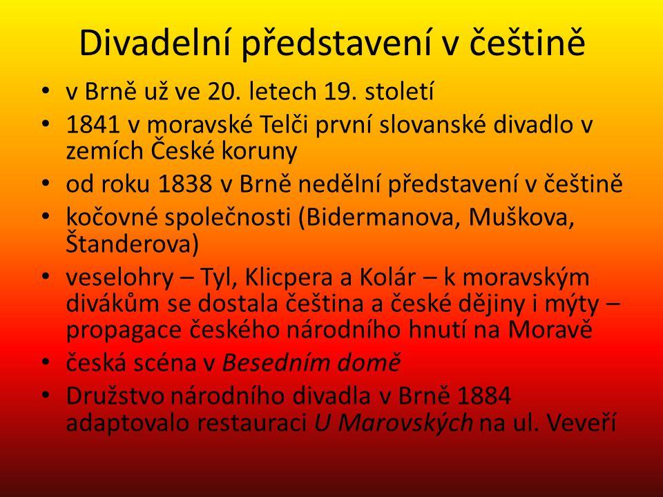 Divadelní představení v češtině v Brně už ve 20.letech 19.