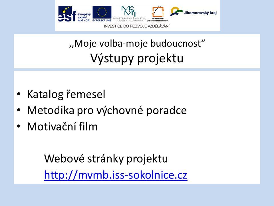 """,,Moje volba-moje budoucnost"""" Výstupy projektu Katalog řemesel Metodika pro výchovné poradce Motivační film Webové stránky projektu http://mvmb.iss-so"""