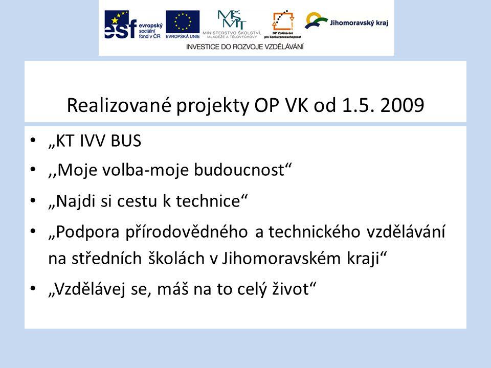 """Realizované projekty OP VK od 1.5. 2009 """"KT IVV BUS,,Moje volba-moje budoucnost"""" """"Najdi si cestu k technice"""" """"Podpora přírodovědného a technického vzd"""