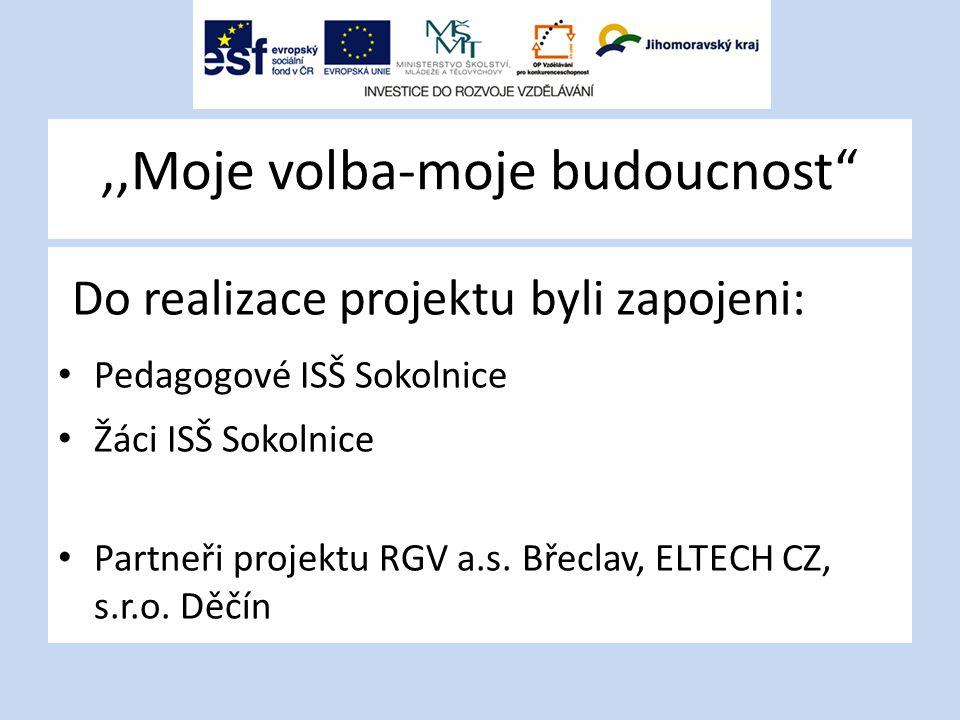 ,,Moje volba-moje budoucnost Výstupy projektu Katalog řemesel Metodika pro výchovné poradce Motivační film Webové stránky projektu http://mvmb.iss-sokolnice.cz